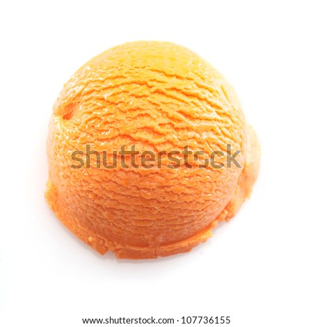 High angle view on a Orange scoop of icecream. For ice-cream concept take a look at my portfolio - stock photo