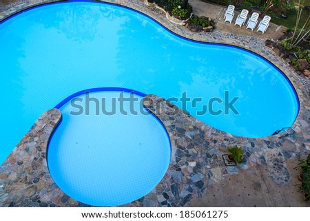 High angle view  swimming pool of hotel - stock photo