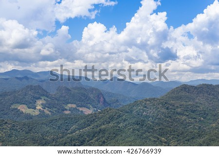 high angle view tropical mountains from viewpoint ban luk khao lam mae hong son, thailand. - stock photo