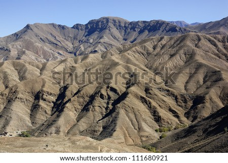 High Atlas Mountains in Morocco. - stock photo