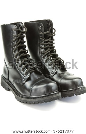 High black leather boots police on a white background - stock photo