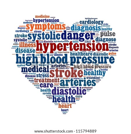 High Blood Pressure in word collage - stock photo