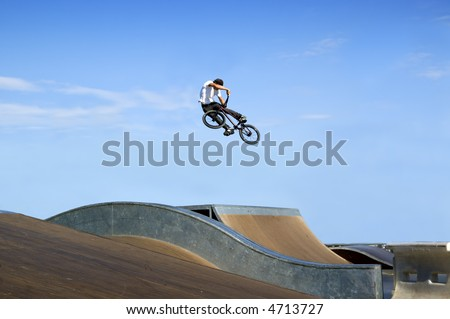 High BMX jump in a skate park - stock photo