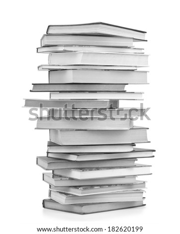 High books stack isolated on white background. - stock photo