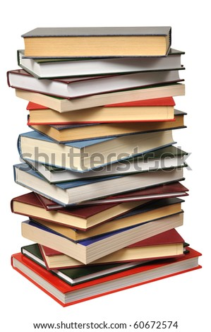High books stack isolated on white background - stock photo