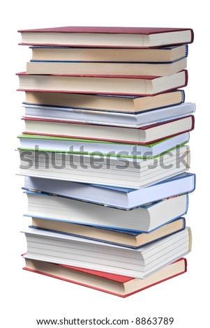High books stack isolated on white background
