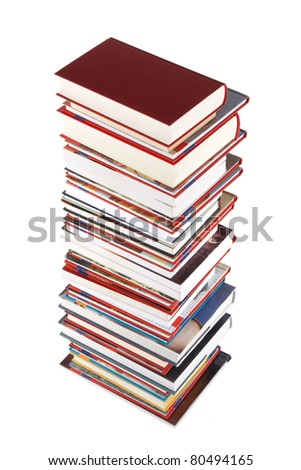 High books stack isolated on white background, wisdom and knowledge concept