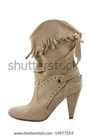 High boot isolated on white background - stock photo