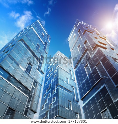 High building. Skyscraper design, sky and 3d model my own - stock photo