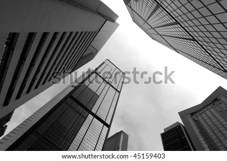 High business buildings, black and white - stock photo