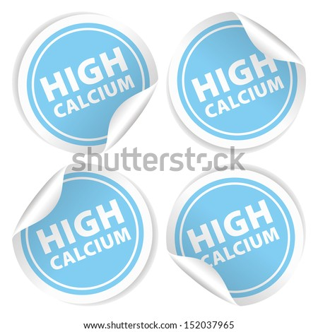 High Calcium Stickers and Tags with Light Blue color - icon, banner, label, badge, sign, symbol