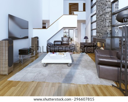 High-ceiling lounge room with fireplace. 3D render