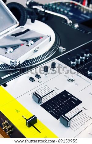 High-class audio gear for hip-hop disc jockey - stock photo