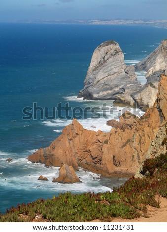 high cliffs at portugal cape de roca - stock photo