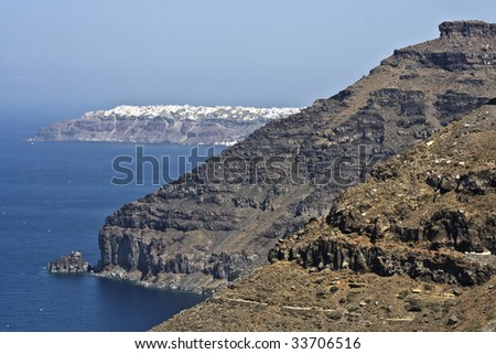 High Cliffs of Santorini (Thira) in Greece