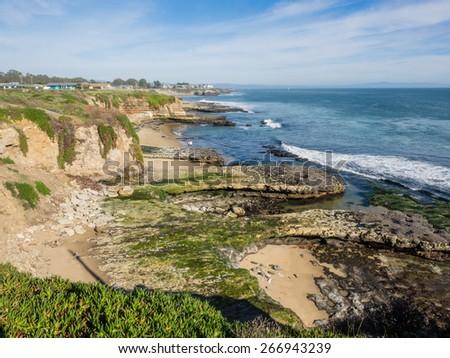 High cliffs on the California coastline near Santa Cruz - stock photo