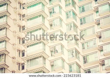 High condominium close up. Vintage filter - stock photo
