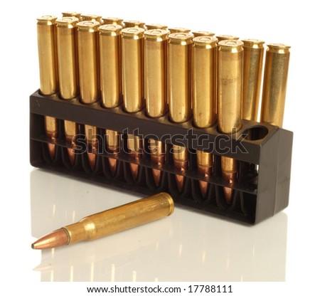 high contrast ammunition 30 - 06 isolated on white background - stock photo