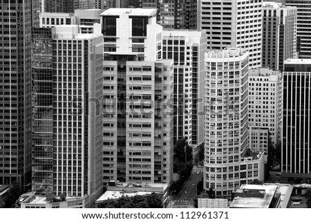 High contrast black and white composition of skycrapers in downtown Seattle, Washington, USA - stock photo