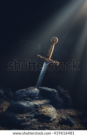 High contrast image of Excalibur, sword in the stone - stock photo