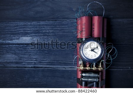 high contrast image of timebomb - stock photo