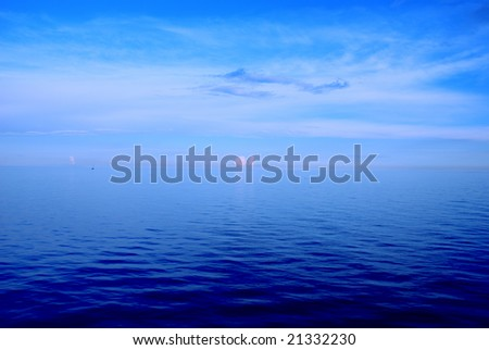 High contrast picture of blue sea landscape - stock photo