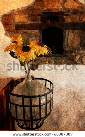 High contrast, vintage image of a rustic vase with beautiful sunflowers . Decor in a Greek taverna. (artistic vintage background).Atwork at painting style - stock photo