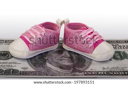 High cost of raising a little girl. - stock photo