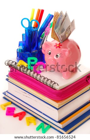 high costs for equipping the pupil at the beginning of  the school year - stock photo