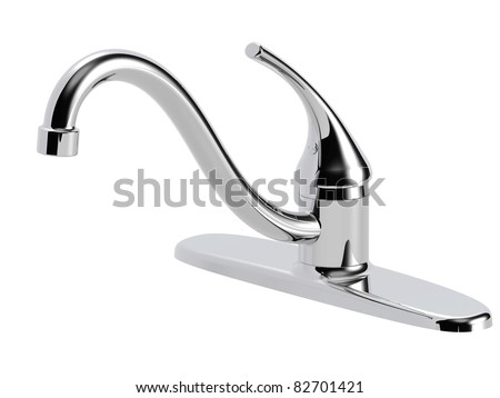 high curve spout kitchen faucet - stock photo