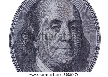 High definition Benjamin Franklin portrait WITH CLIPPING PATCH - stock photo