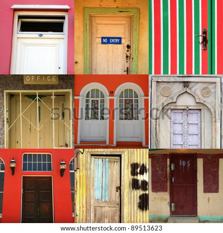 High-definition composition of 9 street doors in various locations of the world