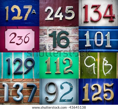 High-definition composition of 12 street numbers