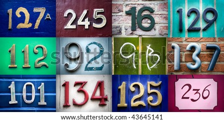 High-definition composition of 12 street numbers - stock photo