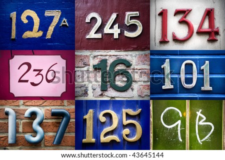 High-definition composition of 9 street numbers