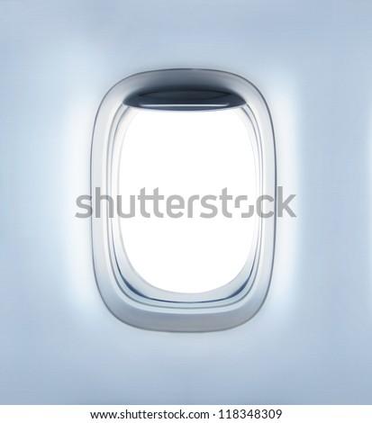 high definition empty aircraft's porthole - stock photo