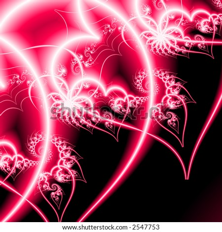 High definition fractal rendering of a valentine heart - stock photo