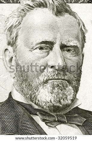 High definition Grant portrait from 50 dollars banknote - stock photo