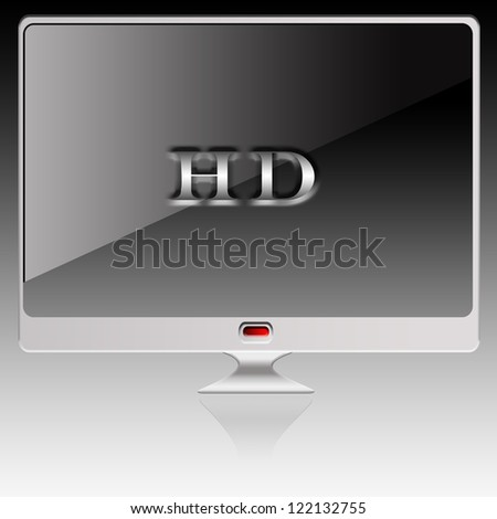 High definition lcd TV isolated over a white background. - stock photo