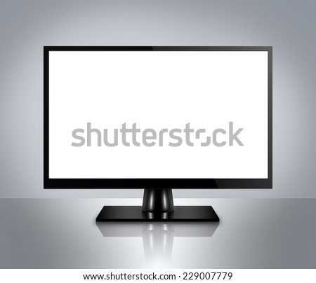 High Definition LCD TV, plasma TV, LED TV or computer monitor with empty LCD screen - stock photo