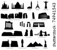 High detail landmarks silhouette set with description of title and place. - stock vector