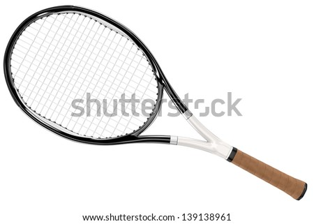 High detailed black and white 3D tennis racket isolated on white background - stock photo