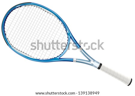 High detailed blue 3D tennis racket isolated on white background - stock photo