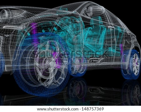 High detailed car drawing - stock photo
