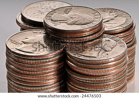 High Detailed Close-up shot of stock of quarters - stock photo