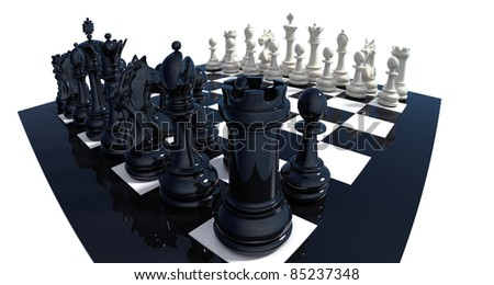 High detailed 3d-render of a chess set on reflective board isolated over white. Clipping path included. - stock photo