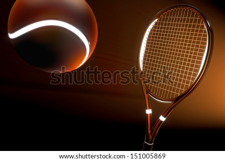 High detailed 3D tennis racket with light source parts and a tennis ball on a dark background with red futuristic style - stock photo