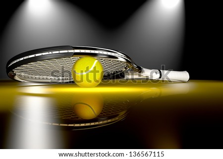 High detailed 3D tennis racket with tennis ball on a dark reflective floor with bright stage lights - stock photo