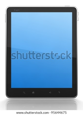 High-Detailed Digital Tablet PC on White Background,