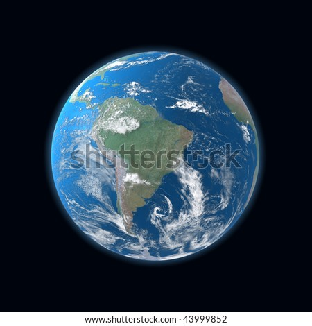 high detailed globe map, South and Central America - stock photo